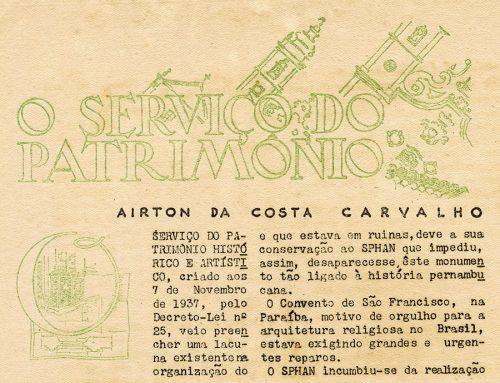O serviço do patrimônio – Airton da Costa Carvalho.